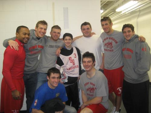 connor with his stonybrook lacrosse team