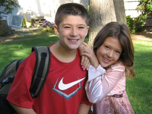 connor and kailyn on the first day of school sept 2007, right before connor was diagnosed