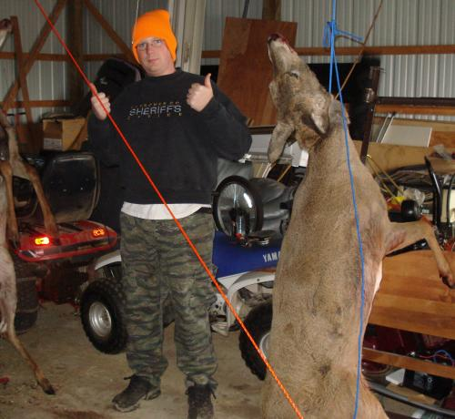 "Chris and two of his four ""bambi's"" from last fall...."