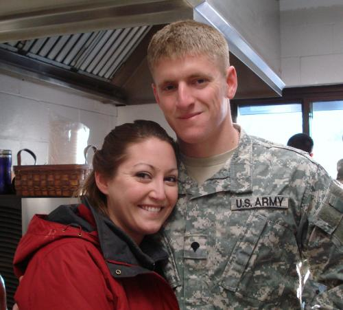 A newlywed Hannah and her husband Mark, as she deploys him Feb. 23rd.