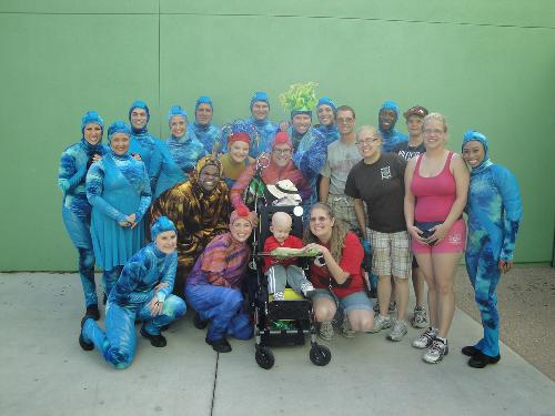 All of us with the cast of the Finding Nemo Musical. They requested that we meet them back stage.