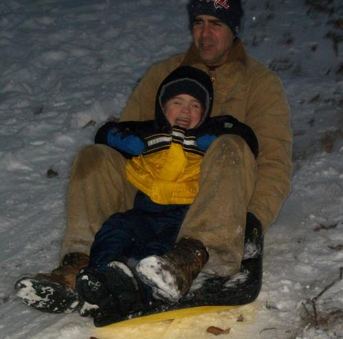 Sleigh riding with Daddy!