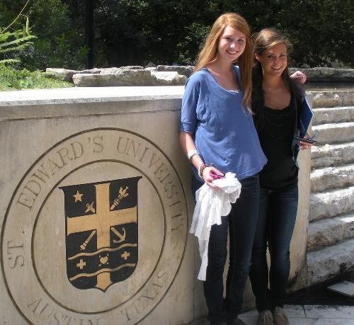 Anna and Katherine visiting St. Ed's in Austin!