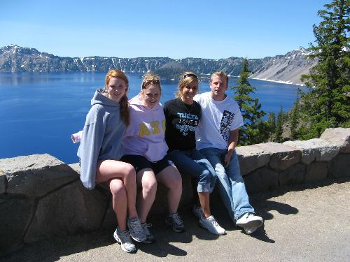 Anna and Patrice with their cousins Rebecca and Zach at Crater Lake
