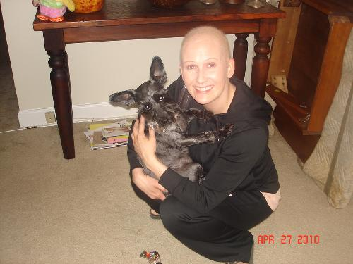 Tobi and I......figured I needed a photo of what I look like without hair
