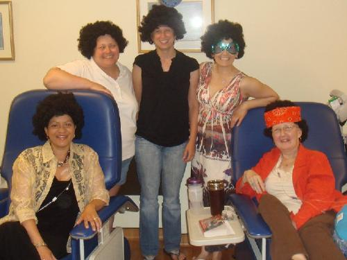 My ladies I party with in Chemo......our first party...disco theme.  Emily, Sarah, Jen, Me, and Susan...u rock