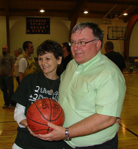The gentelman who won the basketball donated it back to Hope.