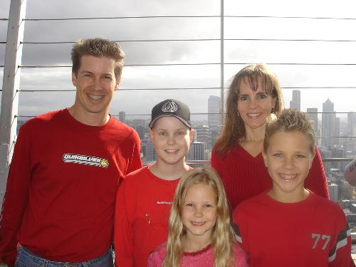 Our family Christmas picture on Seattle's Space Needle-December 2006
