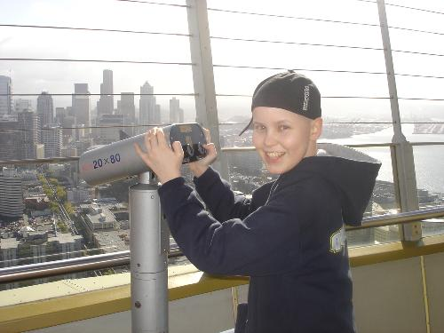 Christian checking out the view on the Space Needle.  Great smile!!
