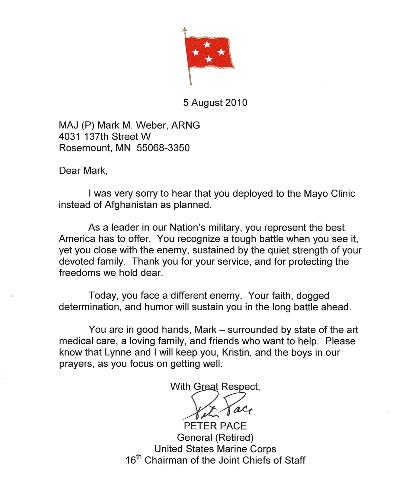 This letter from General Pace really lifted Mark's spirits.