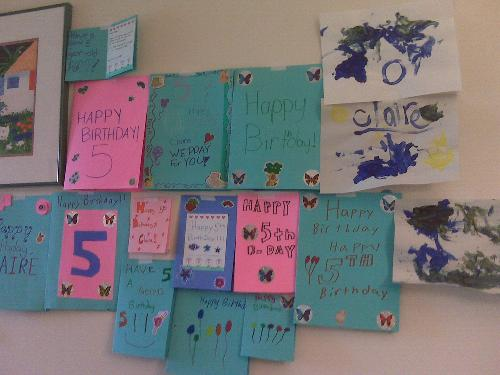 Thank you Ms. Buckmeier's Class!  We love Claire's Birthday cards and they decorate her wall!