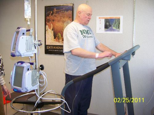 As part of Ken's exercise study, he is measured frequently on the treadmill.