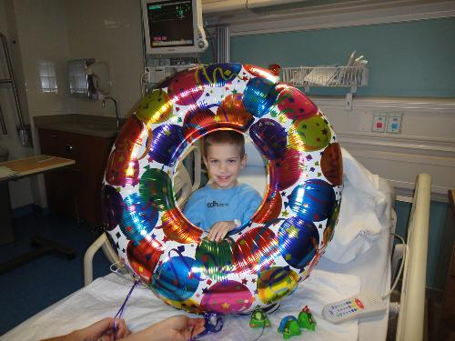 This was our first night in the ER with the 0 from Aunt Tricia's bday balloon.