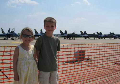 Haidyn and Tyler in front of the Blue Angels planes. 4/24