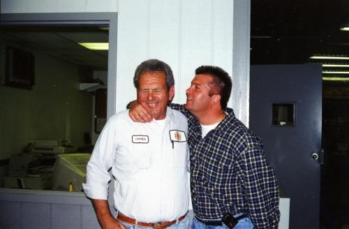 Dad at his retirement party on his birthday 4/26/00 with his boss Royce.