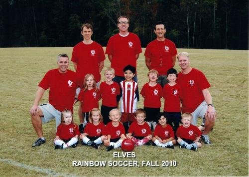 Steve and his buddies coached Abby's soccer team this year.