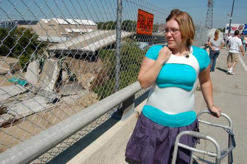 Lindsay viewing the wreckage of the bridge for the first time since being involved in the collapse.
