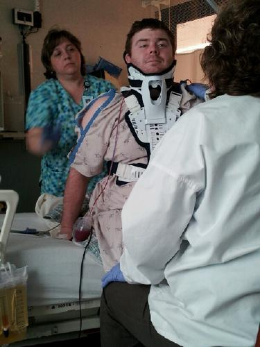 Day 2 and sitting up in the brace!