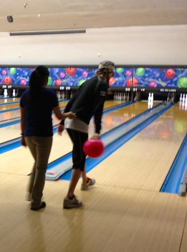 Bowling! (She got a strike- with no bumpers)