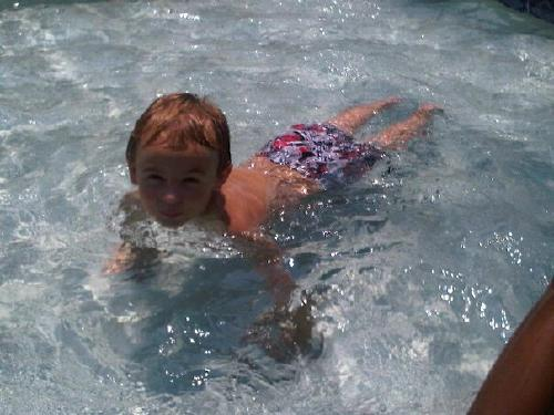 Evan swimming last summer.  August 2011