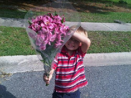Evan in June 2011.  Flowers for his girlfriend on her birthday.