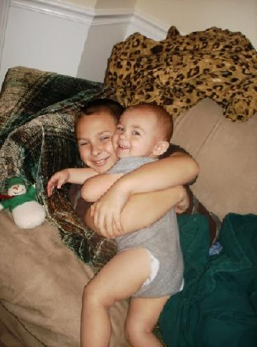 Evan and his brother Zach, December 2008.  Evan was 1.5 years and Zach was 10.5 years