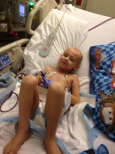 Evan in PICU, after first round of chemo.  May 2012