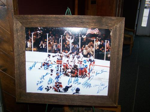 1980 Olympic Gold Metal Winning Hockey Team..donated by Bruce's Cousin Neal Broten/framed Uncle Newell Broten