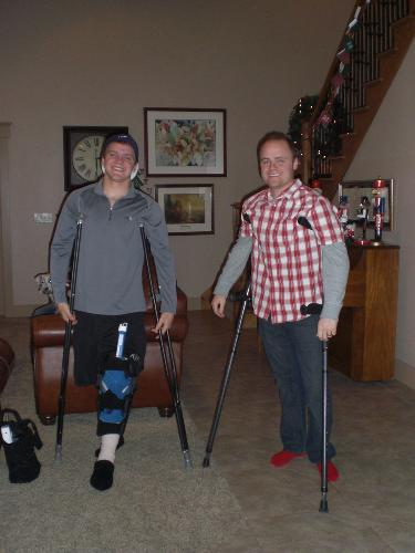 My brother Dallin and I both on crutches.  He tore his meniscus playing football.