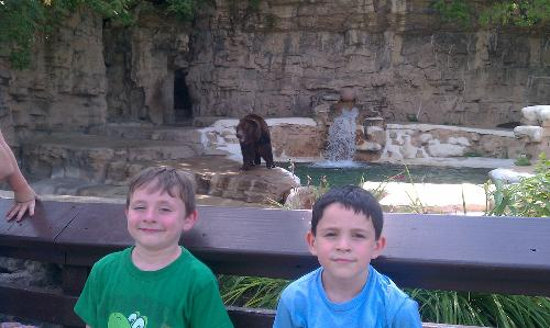 Joseph and Noah at St. Louis Zoo in front of a Grizzly Bear