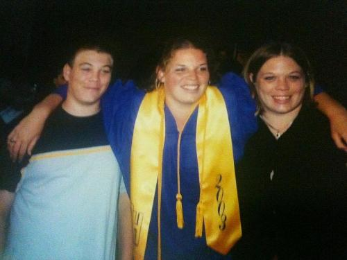 Tyson  with his sisters Kimberly and Sarah at Kimberly's high school graduation in 2003
