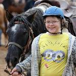 Amanda with Socks at Dude Ranch Camp. The smile says it all!