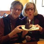 Libby helps Cathy blow out her candle on her chocolate birthday cheesecake, at Olive Garden restaurant! Each year these special occasions take on more and more meaning as we all ponder where Libby was the year before. Praise the Lord! 1-19-16
