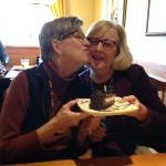A birthday smooch from Anthony sister #1 (Libby) to Anthony sister #2 (Cathy). Sweet! 1-19-16