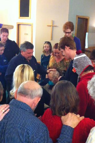 Our church anointing David with oil.