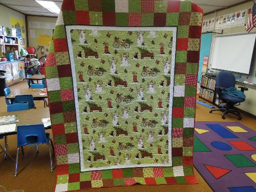 Quilt made my Riley's kindergarten teacher, Sherri Huff, which will be raffled to make money for Riley's care