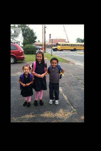 First day of school for my little ones. Kindergarten and Fourth grade. :~)  One Proud Mommy.