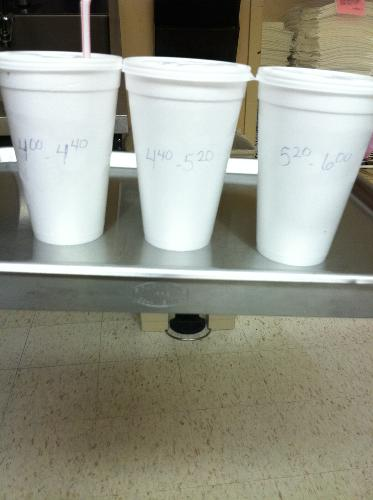 BARIUM!! Yum (not!) Here are my three large cups of barium sulfate for my CT scan with the times to drink it.
