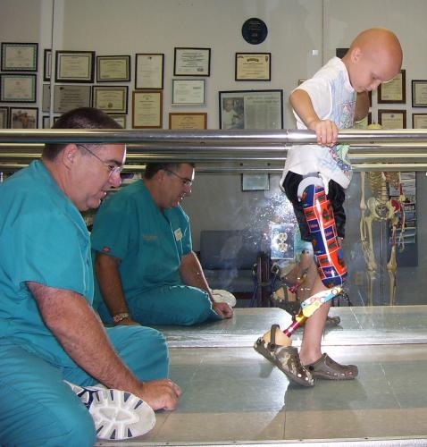 First day walking on his new leg.  Aug 11, 2008