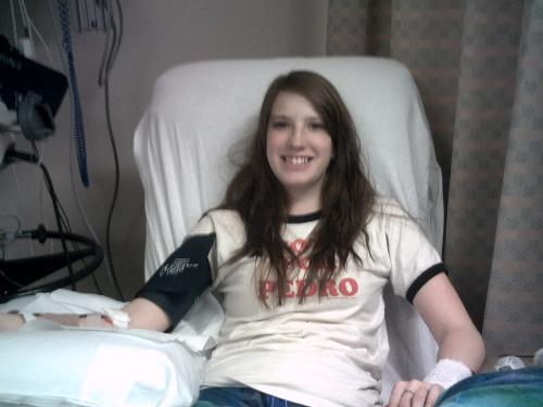 Katie giving an Apheresis blood donation for Taylor's Donor Lymphocyte Infusion/transplant 11-2010
