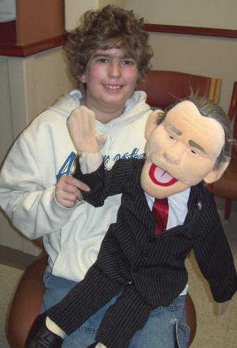 with my ventriloquist puppet, George Bush 5-2009
