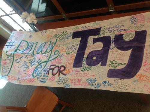 The amazing sign made by CCHS ASB! It is now hanging in Taylor's room.