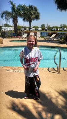 Jersey day at school doesn't mean you can't wear your jersey by the pool in Texas!
