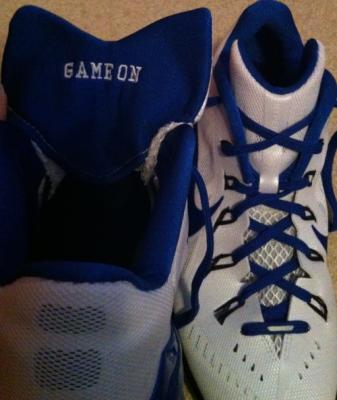 "Cole put ""Game On"" in his new game shoes. He will be playing with a purpose!"