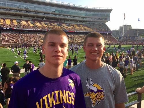 Cole and Chase at a Vikings game.