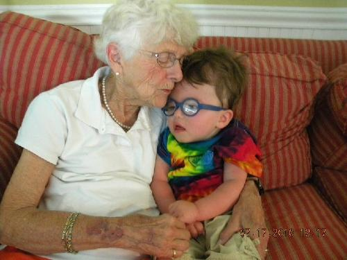 Brayden & his Great Grammie... 7-17-10 on our CT trip, first time meeting all of my Grinnell family!!