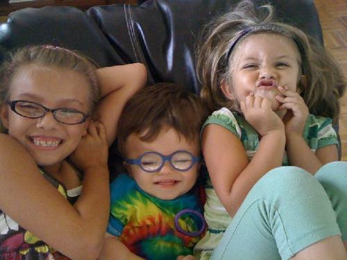 Brayden being silly with his sisters... September 2010