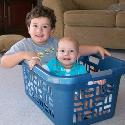 Jackson and Hannah enjoying a basket ride at home!