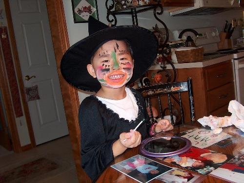 Lydia getting ready for Halloween, after first round of chemo