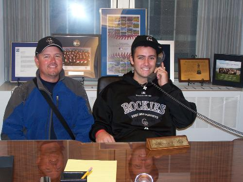 Mark and Nate sitting at Bud Selig's desk in the main MLB office!
